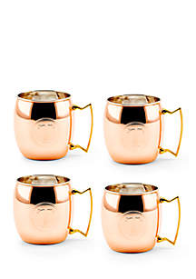 Solid Copper Moscow Mule Mugs, Set of 4 - Monogram T