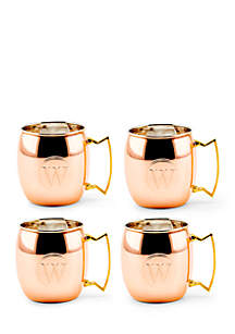 Solid Copper Moscow Mule Mugs, Set of 4 - Monogram W