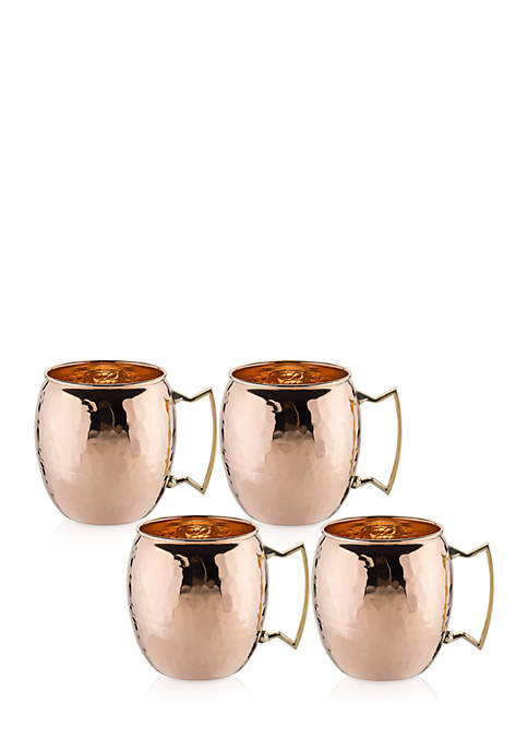 Hammered Solid Copper Moscow Mule Mugs, Set of 4