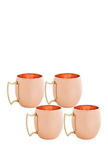 Solid Copper Moscow Mule Mugs, Set of 4