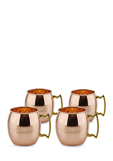 Solid Copper Cheers Moscow Mule Mugs, 16-oz., Set of 4