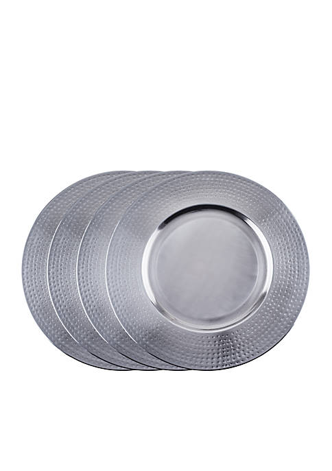 Brushed Nickel Hammered Rim Charger Plates, Set of 4