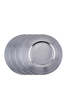 Old Dutch International, Ltd. Brushed Nickel Hammered Rim Charger Plates, Set of 4