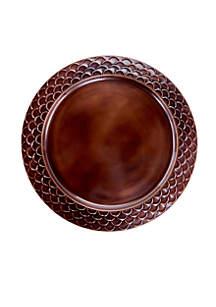 Antique Copper Scale Rim Charger Plates, Set of 6