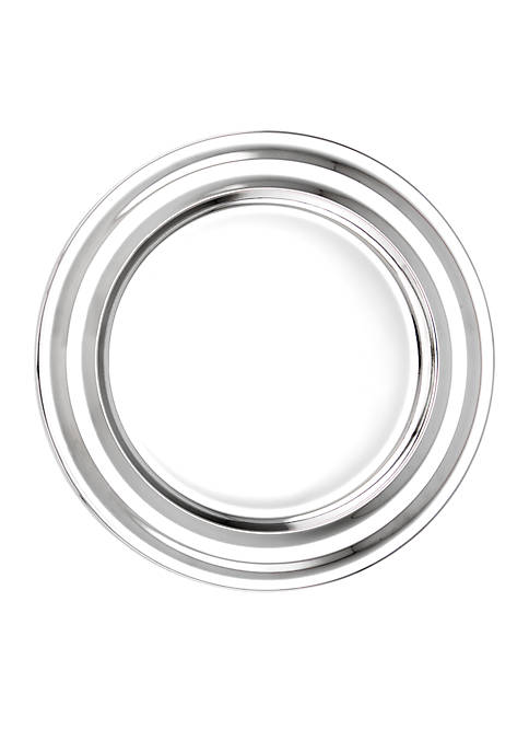 Stainless Steel Collar Rim Charger Plates, Set of 6