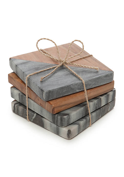 Biltmore® Artisan Acacia and Gray Marble Coasters