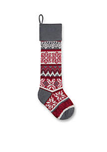 27.5-in. Snowflake Knit Stocking