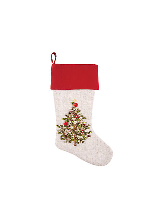 C&F Tree Ribbon Art Stocking