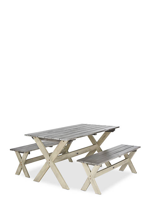Safavieh Marina 3-Piece Dining Table and Benches Set
