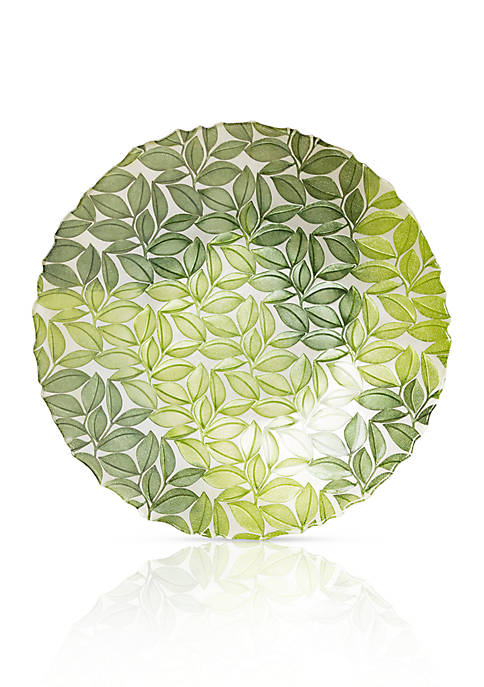 Vietri Nature Glass Green Leaf Large Bowl