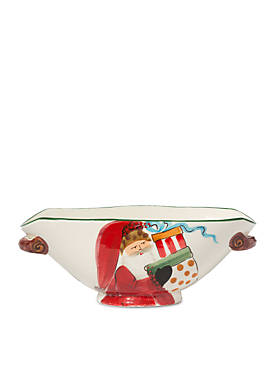 Old St. Nick Handled Oval Bowl with Presents