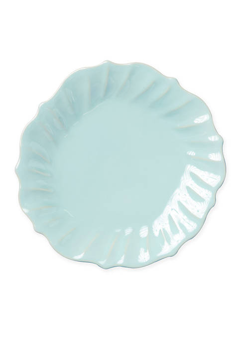 Vietri Incanto Stone Aqua Ruffle Dinner Plate