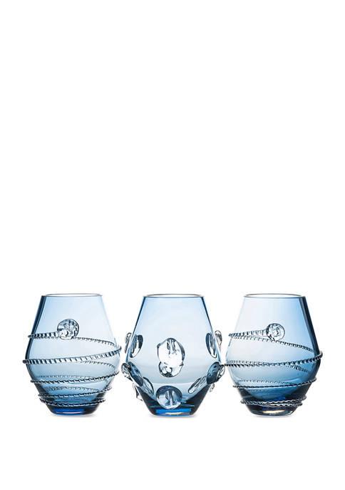 Juliska Set of 3 Assorted Mini Blue Vases