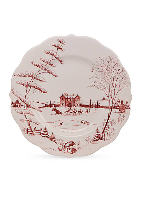 Juliska Winter Frolic Ruby Dinner Plate Christmas Eve