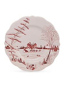 Winter Frolic Ruby Dinner Plate Christmas Eve