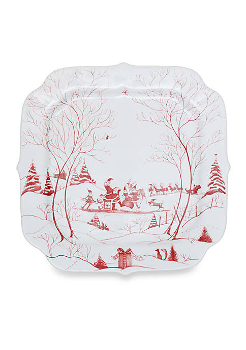 Juliska Winter Frolic Ruby Santas Cookie Tray Naughty
