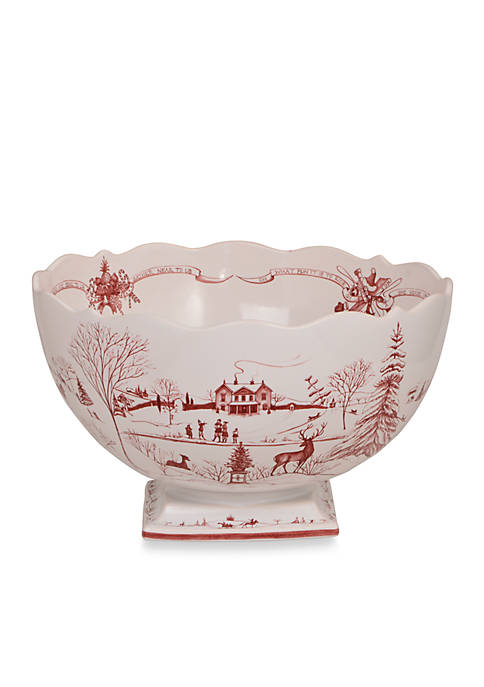 Juliska Winter Frolic Ruby Centerpiece Bowl Christmas Celebration