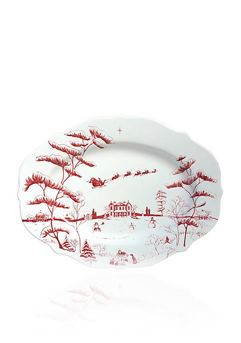 Juliska Winter Frolic Ruby Serving Platter Christmas Eve