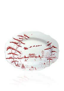 Winter Frolic Ruby Serving Platter Christmas Eve