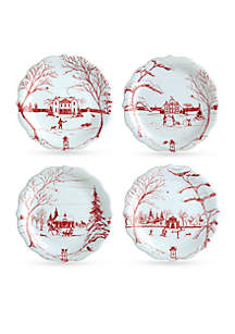 Winter Frolic Ruby Party Plate - Set of 4
