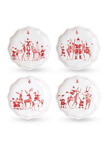 Juliska Reindeer Games Ruby Tidbit Plates Set of 4