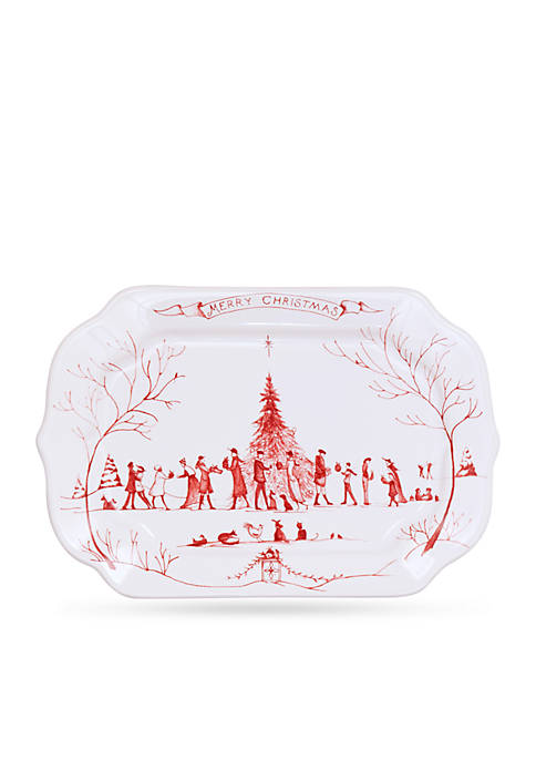 Juliska Winter Frolic Ruby Merry Christmas Gift Tray