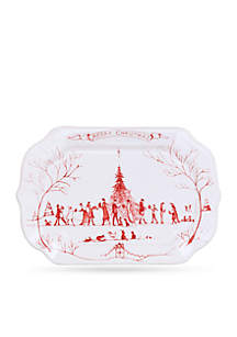 Winter Frolic Ruby Merry Christmas Gift Tray