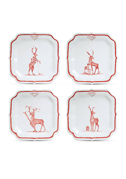 Juliska Reindeer Games Ruby Solo Sports Party Plates