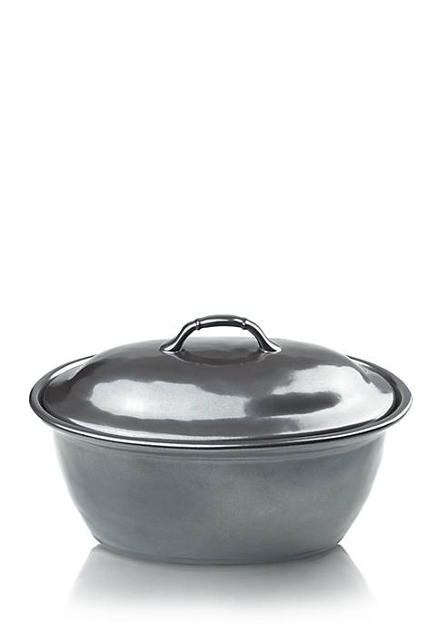 Pewter Stoneware 12-in. Covered Casserole