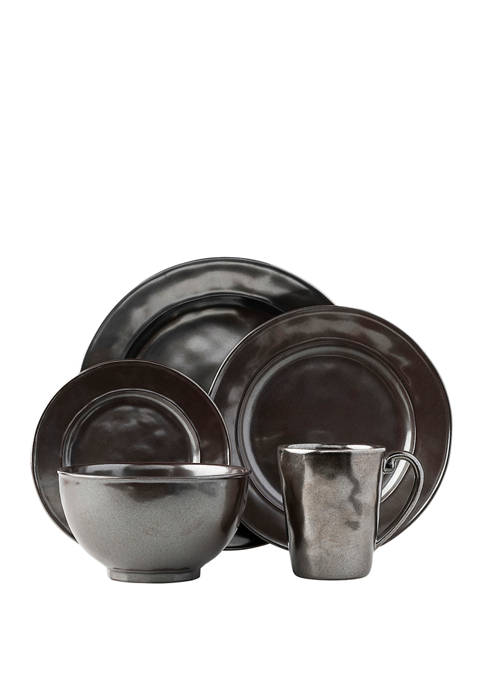 Pewter Stoneware 5 Piece Place Setting