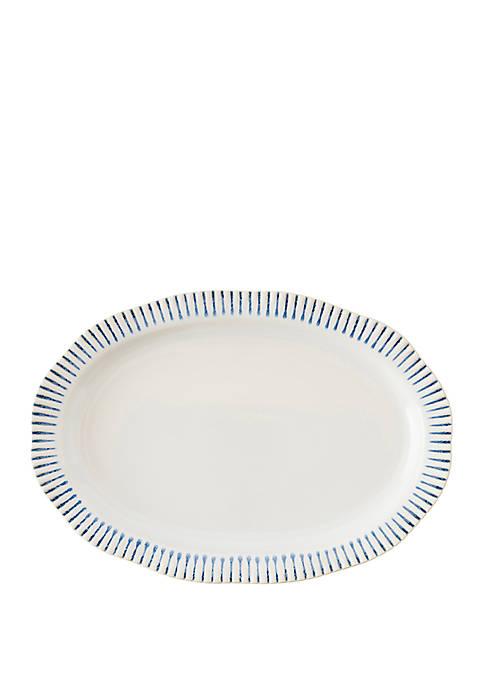 Juliska Sitio Stripe Indigo 17 in Serving Platter