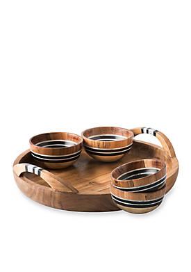 Stonewood Stripe 5-piece Appetizer Set: Tray & 4 Bowls