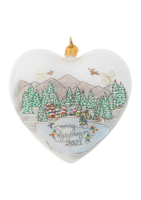 Berry & Thread North Pole Merry Christmas 2021 Heart Glass Ornament