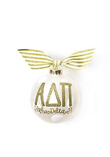 Alpha Delta Pi Gold Glitter Ornament
