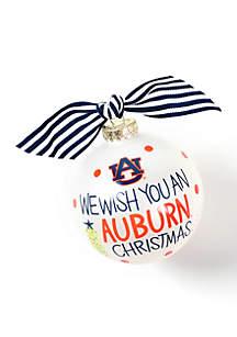 Auburn We Wish You Glass Ornament