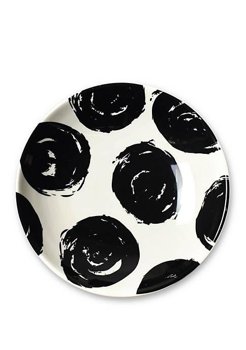 Black Brushed Dot Scoop Salad Plate