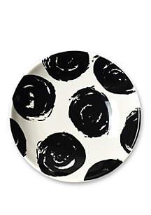 COTON COLORS Black Brushed Dot Scoop Salad Plate