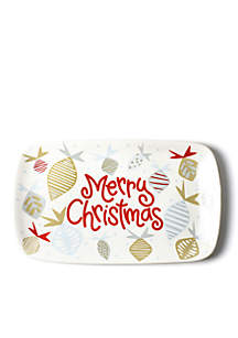 Merry Christmas Baubles Rectangle Platter