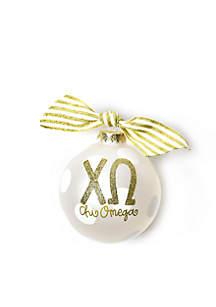 Chi Omega Gold Glitter Ornament