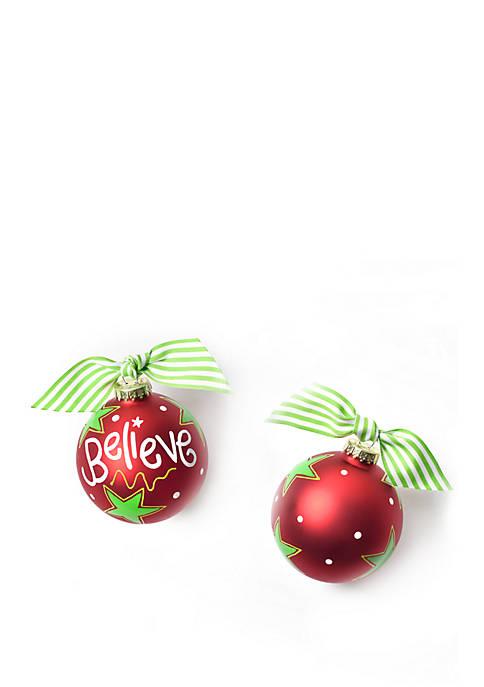 COTON COLORS Believe Christmas Glass Ornament