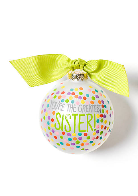 COTON COLORS Greatest Sister Bright Confetti Glass Ornament