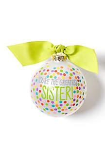 Greatest Sister Bright Confetti Glass Ornament