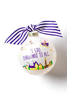 Santa's A Louisiana State Fan Glass Ornament