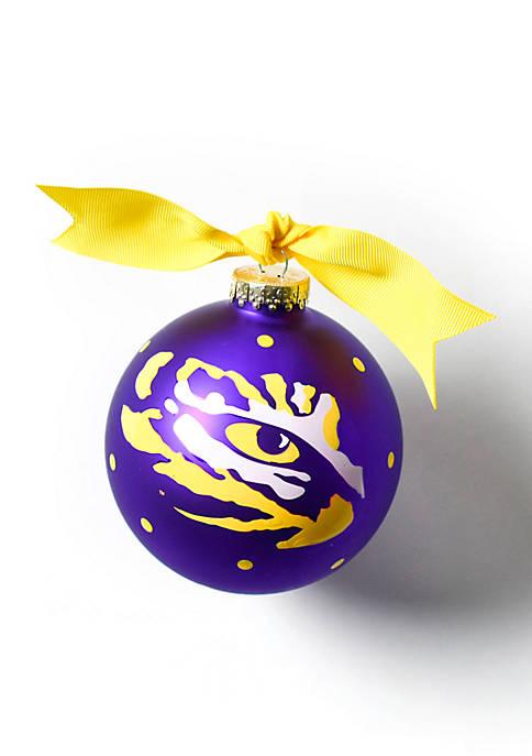 COTON COLORS Louisiana State Tiger Eye Glass Ornament