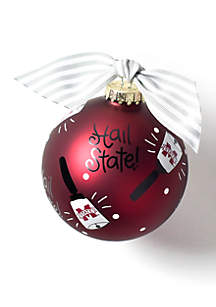 Mississippi State Cow Bell Glass Ornament