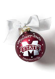 Mississippi State Logo Glass Ornament