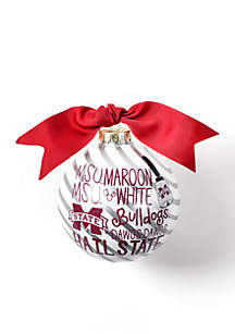 Mississippi State Word Collage Glass Ornament