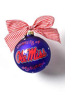 Ole Miss Logo Glass Ornament