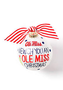 Ole Miss We Wish You Glass Ornament