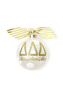 Delta Delta Delta Gold Glitter Ornament